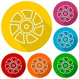 Exhaust fan vector icons set with long shadow Royalty Free Stock Images