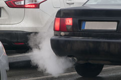 Exhaust fumes of the car Stock Images