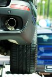 Exhaust pipe. Exhaust pipe of the new automobile on the exhibition Stock Photography