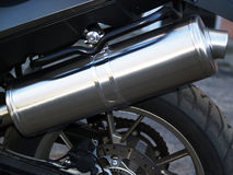 Exhaust pipe as part of racing motorbike Stock Photography