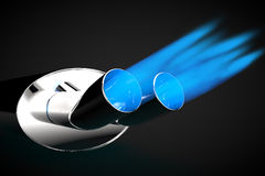 Exhaust Pipe blue flame gas gasoline car tuning Stock Photography