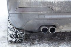Exhaust pipe car smoke winter Stock Images