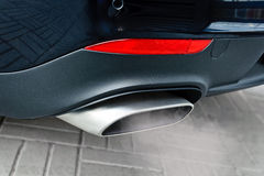Exhaust pipe. Close up of a car dual exhaust pipe Stock Photos