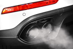 Exhaust pipe. Close up of a car dual exhaust pipe Royalty Free Stock Photography