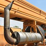 Exhaust pipe of an old mobile crane vehicle Stock Image