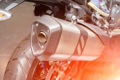 Free Exhaust Pipe Sport Motorcycle. Closeup View, Back View Stock Photography - 124499562