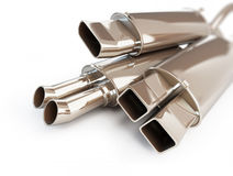 Exhaust silencer automobile muffler. 3d Illustrations. On a white background Stock Images