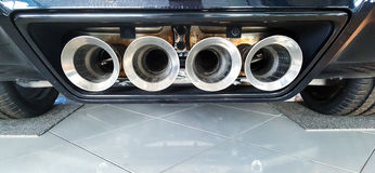 Sports car exhaust pipes Stock Photo