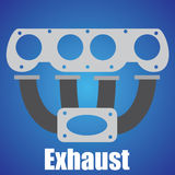 Exhaust Symbol. On blue background Royalty Free Stock Photo
