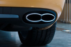 The exhaust system of a personal luxury car Bentley New Continental GT V8. Stock Image