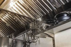 Exhaust systems, hood filters detail in a professional kitchen stock photos