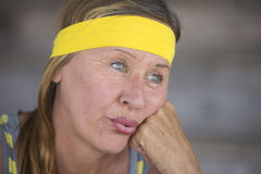 Exhausted active mature woman portrait Royalty Free Stock Image