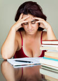 Exhausted adult hispanic student Royalty Free Stock Photography