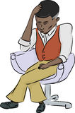 Exhausted Black Man. Exhausted African man sitting in chair over white background royalty free illustration