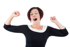 Exhausted or bored woman, businesswoman, secretary, worker in yawn Stock Photography