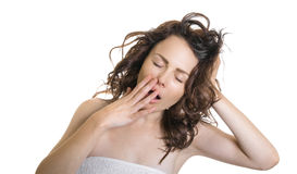 Exhausted or bored woman in yawn Royalty Free Stock Photos