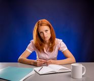 Exhausted business woman Royalty Free Stock Image