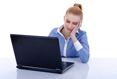 Exhausted business woman rests her head Stock Image