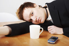 Exhausted businessman Royalty Free Stock Image