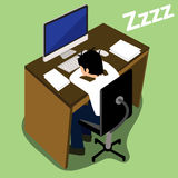 Exhausted businessman falling asleep. At his office desk vector design Royalty Free Stock Photography