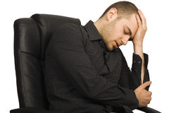 Exhausted Businessman in his office Royalty Free Stock Photo