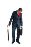 Exhausted businessman isolated white background Stock Photography