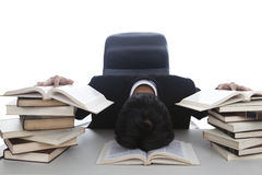 Exhausted businessman working Stock Photos