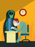 Exhausted businessman working overtime vector illustration Stock Photo