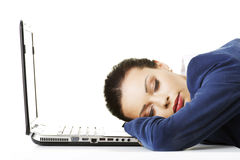 An exhausted businesswoman is sleeping Royalty Free Stock Photos