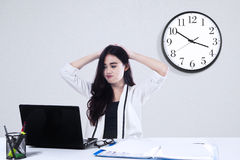 Exhausted businesswoman Stock Photos
