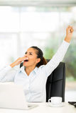 Exhausted businesswoman yawning Royalty Free Stock Images