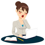 Exhausted Businesswoman Yawning. Exhausted young businesswoman yawning at work while using laptop vector illustration
