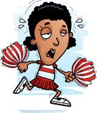 Exhausted Cartoon Black Woman Cheerleader. A cartoon illustration of a black woman cheerleader running and looking exhausted stock illustration