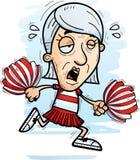 Exhausted Cartoon Senior Citizen Cheerleader. A cartoon illustration of a senior citizen woman cheerleader running and looking exhausted stock illustration
