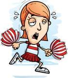 Exhausted Cartoon Woman Cheerleader. A cartoon illustration of a woman cheerleader running and looking exhausted vector illustration