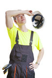 Exhausted construction worker Royalty Free Stock Photo