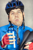 Exhausted Cyclist Stock Image