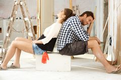 Exhausted DIY couple Royalty Free Stock Photos