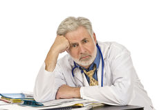 Exhausted Doctor At End of Day Royalty Free Stock Photo