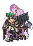 Exhausted employee sleeping at the office table Stock Image