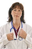 Exhausted or Exasperated Doctor. Isolated on white who is definitely ready to go home. Could also be nurse, therapist, etc stock images