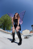 Exhausted Fairy on Rooftop Royalty Free Stock Images