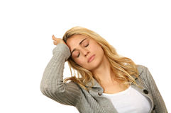 Exhausted Female Overwhelmed. With Life on White Stock Images