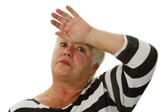 Exhausted female senior Stock Images