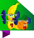Exhausted fruits lifting weight label with blank ribbon Stock Image