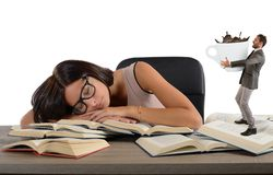 Exhausted girl needs a coffee Royalty Free Stock Photo