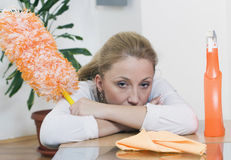 Exhausted housewife Stock Images