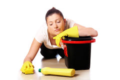 Exhausted housewife Stock Photo