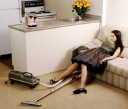 Exhausted Housewife Royalty Free Stock Photos