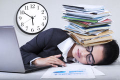 Exhausted indian businesswoman overworked Royalty Free Stock Image